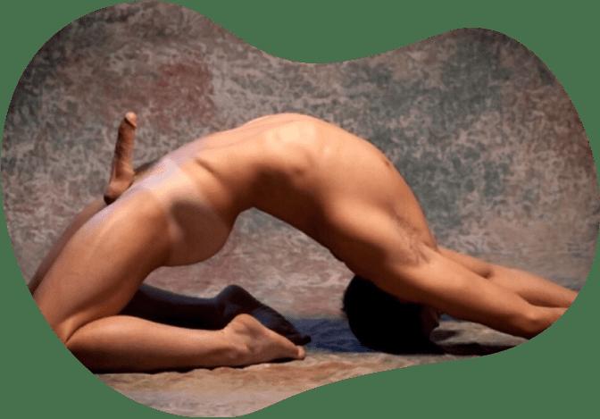 Naked couple yoga